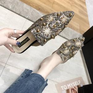 Thread Art Floral Art Pointed Flat Wear Slippers - Khaki