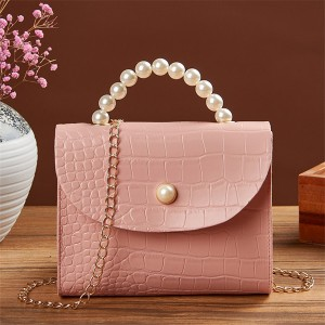 Pearl Handle Animal Pattern Chain Strap Messenger Bags - Pink