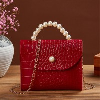 Pearl Handle Animal Pattern Chain Strap Messenger Bags - Red