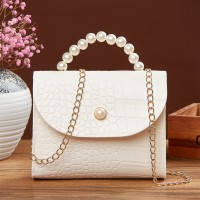Pearl Handle Animal Pattern Chain Strap Messenger Bags - White