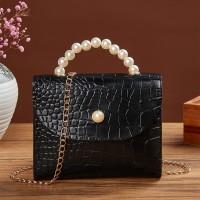 Pearl Handle Animal Pattern Chain Strap Messenger Bags - Black