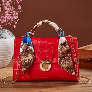 Press Lock Crocodile Pattern Chain Strap Messenger Bags - Red