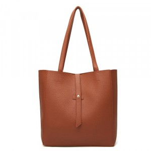 Synthetic Leather Solid Color Casual Women Fashion Shoulder Bags - Brown