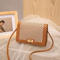 Mesh Pattern Twist Lock Luxury Messenger Bags - Brown