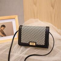 Mesh Pattern Twist Lock Luxury Messenger Bags - Black