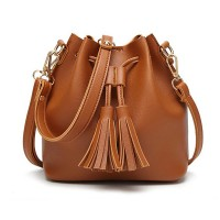 Synthetic Leather Tassel Drawstring Solid Color Shoulder Bags - Brown