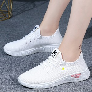 Canvas Laced Up Rubber Sole Casual Sneakers For Women