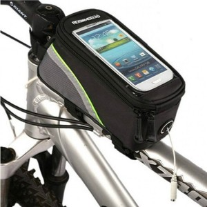 Zipper Closure Easy Installation Cycle Mobile Cover Pocket - Black Green