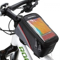 Zipper Closure Easy Installation Cycle Mobile Cover Pocket - Black Red