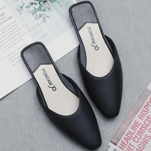 Pointed Toae Flat Wear Women Fashion Slippers - Black