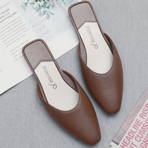 Pointed Toae Flat Wear Women Fashion Slippers - Brown