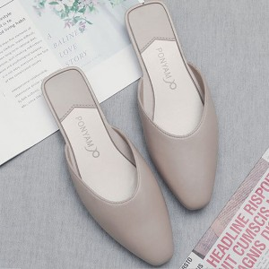 Pointed Toae Flat Wear Women Fashion Slippers - Khaki