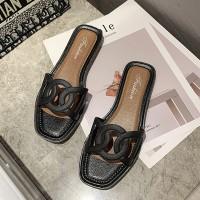 Fine Quality Flat Sole Women Fashion Slippers - Black
