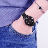 Crystal Carved Mesh Metal Strapped Party Wear Wrist Watch - Black