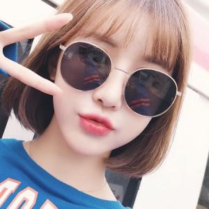 High Quality Women Fashion Round Eye Sunglasses - Black