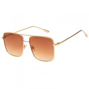 Trendy Fashion Retro Square Frame Sun Glasses - Dark Brown