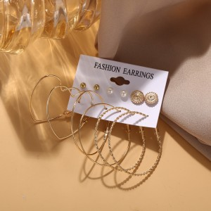 Gold Plated Six Pairs Pearl Stud Fashion Women Earring