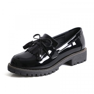 Lace Closure Vintage Style Flat Wear Shoes - Black