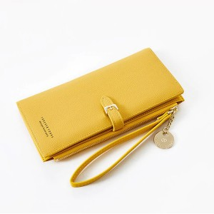 Synthetic Leather Buckle Closure Zipper Handheld Wallet - Yellow