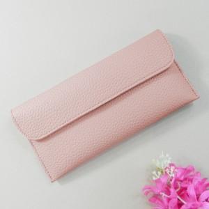 Handheld Button Closure Sober Wallet - Pink