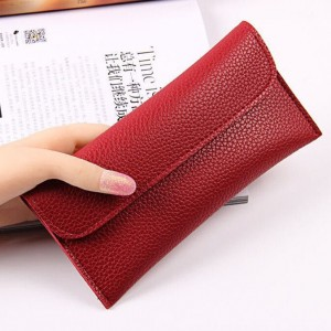 Handheld Button Closure Sober Wallet - Red