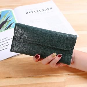 Handheld Button Closure Sober Wallet - Dark Green