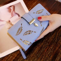 Engraved Zipper Closure Synthetic Leather Wallets - Blue