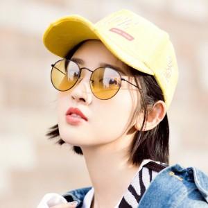 Retro Color Film Round Frame Sunglasses - Yellow
