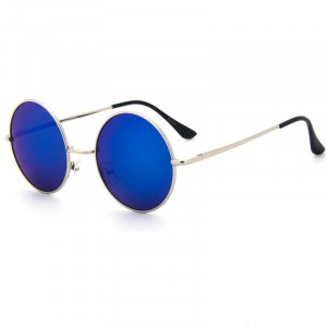 Trendy Round Frame Fashionable Colorful Sunglasses - Blue