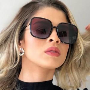 Big Frame Square Shape Fashion Sunglasses - Black Gary