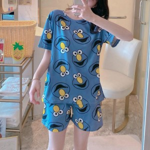 Solid Cute Pattern Short Sleeve Comfortable Two Piece Pajama Suit - Black Blue