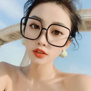 Transparent Blue Light Proof Large Frame Glasses - Black