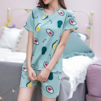 Solid Cute Pattern Short Sleeve Comfortable Two Piece Pajama Suit - Light Green