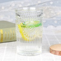 Glass Boho Engraved Arabic Glass Ware Tumbler - Transparent