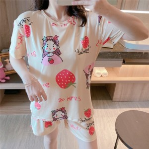 Solid Cute Pattern Short Sleeve Comfortable Two Piece Pajama Suit - White Red