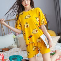 Solid Cute Pattern Short Sleeve Comfortable Two Piece Pajama Suit - Yellow