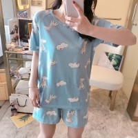 Solid Cute Pattern Short Sleeve Comfortable Two Piece Pajama Suit - White Blue