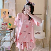 Solid Cute Pattern Short Sleeve Comfortable Two Piece Pajama Suit - Peach Pink