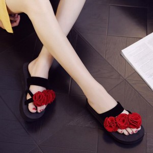 Rose Patched Thick Sole Party Wear Slippers - Red