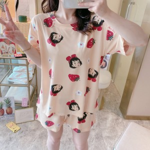 Solid Cute Pattern Short Sleeve Comfortable Two Piece Pajama Suit - Red