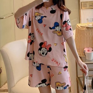 Solid Cute Pattern Short Sleeve Comfortable Two Piece Pajama Suit - Candy Pink