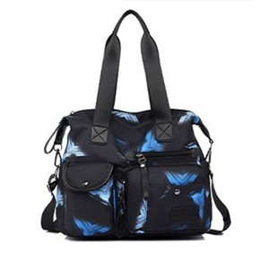 Printed Zipper Closure Multi Pockets Handbags - Blue