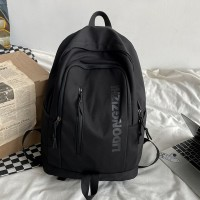 Nylon Canvas Zipper Backpacks - Black