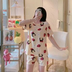 Solid Cute Pattern Short Sleeve Comfortable Two Piece Pajama Suit - Cream White