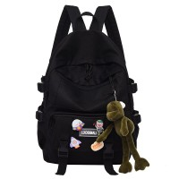 Zipper Closure Canvas Vintage College Backpacks - Black