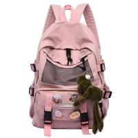Zipper Closure Canvas Vintage College Backpacks - Pink