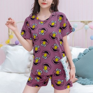 Solid Cute Pattern Short Sleeve Comfortable Two Piece Pajama Suit - Purple