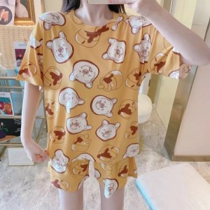 Solid Cute Pattern Short Sleeve Comfortable Two Piece Pajama Suit - Zinc Yellow