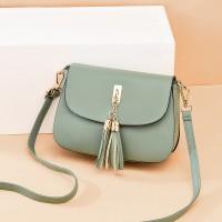 Solid Color Tassel Magnetic Closure Fancy Messenger Bags - Green