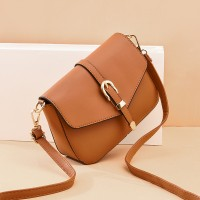 Buckle Patched Fancy Synthetic Leather Messenger Bags - Brown